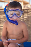 Cute boy in diving mask Royalty Free Stock Photos