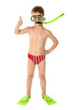 Boy in diving mask with thumb up sign Stock Images