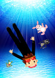 Boy diving underwater with toy pets Stock Image