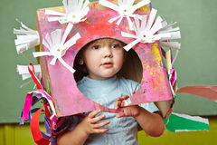 Boy with DIY costume for carnvial. Boy with his DIY costume for carnvial in a kindergarten Royalty Free Stock Photos