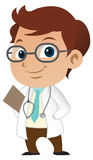 Boy Doctor. Cute little male doctor with a stethoscope stock illustration
