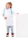 Boy doctor holding a banner Stock Images