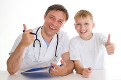 The boy in a doctors office Royalty Free Stock Image
