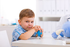 Boy at doctors office Royalty Free Stock Photos