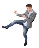 Boy does karate kick Royalty Free Stock Photography