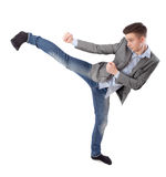 Boy does karate kick Royalty Free Stock Photo