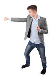 Boy does karate punch Stock Photography