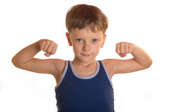 Boy does physical exercises Royalty Free Stock Images