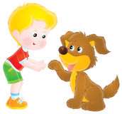 Boy and dog. Isolated clipart illustration of a boy that plays with his dog Royalty Free Stock Photography