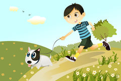Boy and dog. A  illustration of a boy and a dog playing and running in the park Royalty Free Stock Images