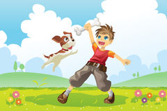 Boy and dog. A vector illustration of a boy and his dog playing in the park