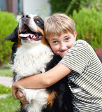 Boy  and dog. Boy  hugging his beloved dog Stock Photography