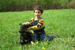 The boy and а dog. Spring walk in a wood. Game with a dog Stock Photo