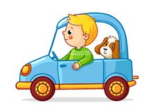Boy with a dog in blue car. Vector illustration stock illustration