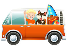Boy and dog on camper van Stock Photos