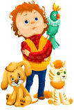 Boy dog cat parrot character cartoon style  illustration Stock Images
