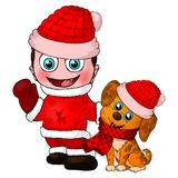 Boy and dog character. Merry christmas and happy new year. stock illustration