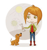 Boy and dog. Color illustration of a boy playing with a dog Stock Image