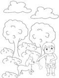 Boy with a dog coloring page Stock Photography