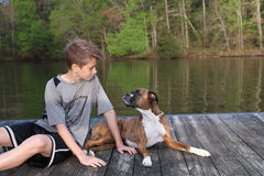 Boy and Dog on Dock looking at each other. Adorable boy and boxer on dock at lake looking at each other Stock Photo