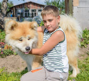 A boy with a dog Royalty Free Stock Images