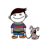 Boy with Dog friend Stock Photos