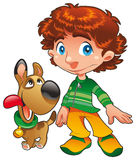 Boy with Dog friend Stock Images