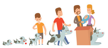 Boy and dog friends kife stages vector illustration. Friendship and family concept. Boy and his dog live together. Man family and dog pet vector Stock Image