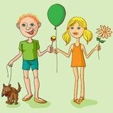 Boy with a dog, a girl with a flower. Stock Image