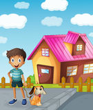 Boy, dog and house. Illustration of a boy, dog and house in a beautiful nature Royalty Free Stock Image