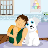 Boy and dog illustration  Royalty Free Stock Images