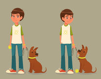 Boy with dog on a leash Royalty Free Stock Photography