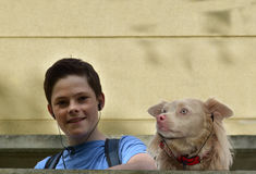 Boy and dog listen music Royalty Free Stock Photography