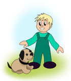 Boy with Dog Stock Photo