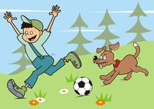 Boy and dog in nature Stock Images