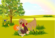 Boy and dog playing, cdr vector Stock Photos