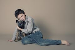 Boy and dog. Portrait of boy and his dog Royalty Free Stock Image