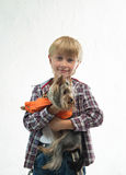 Boy with the dog Stock Images