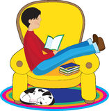 Boy and Dog Reading Stock Image