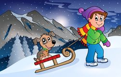 Boy with dog on sledge in winter. Eps10 vector illustration Royalty Free Stock Image