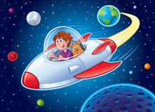 Boy with Dog In Spaceship. Cartoon of a boy and his dog flying in a spaceship blasting away from earth and going into outer space Royalty Free Stock Images