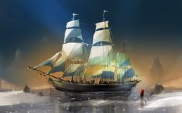 boy and dog standing on snow against big wooden sailboat, digital illustration art painting design style. royalty free illustration