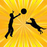 Boy and Dog Sunburst Background Royalty Free Stock Image