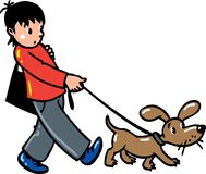 Boy with a dog. Boy walk with a dog or puppy Royalty Free Stock Photos