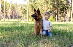 The boy and the dog for a walk Stock Photos