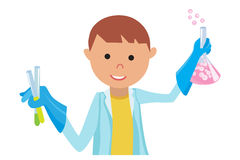 Boy doing chemical experiment. Young scientist. Vector illustration on white Stock Images
