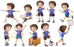 Boy doing different activities Stock Photo