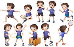 Boy doing different activities Stock Photo