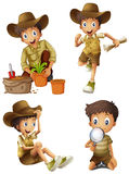 Boy doing different activities Stock Images