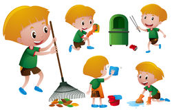 Boy doing different chores Royalty Free Stock Photo